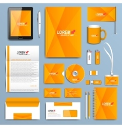 Yellow set of corporate identity templates vector