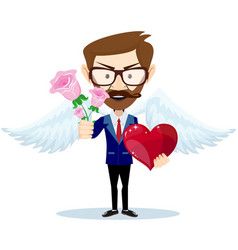 young angel smiling and holding bouquet of flowers vector image