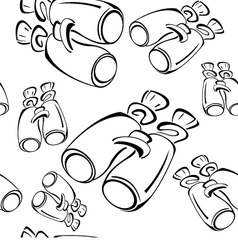 Black and white contour binoculars seamless vector image vector image