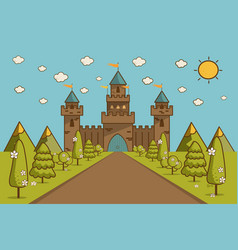 cartoon of tale castle on hill landscape vector image