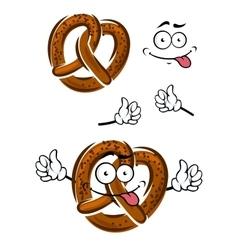 Cartoon pretzel with a happy smiling face vector image
