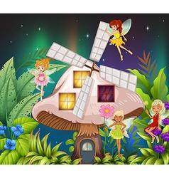 Fairies flying around the mushroom hosue at night vector image vector image