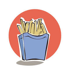 French fries in red paper box cartoon vector