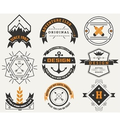 Logotypes set and Vintage Insignias design vector image vector image