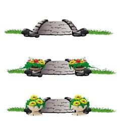 stone bridge with flowers set vector image vector image