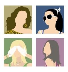 avatars fashionable girls vector image