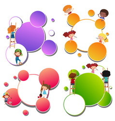border templates with kids painting vector image vector image