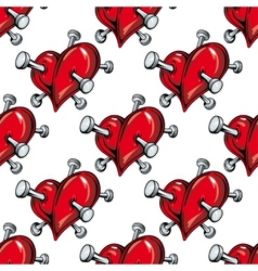 Cartoon nailed red hearts seamless pattern vector image vector image