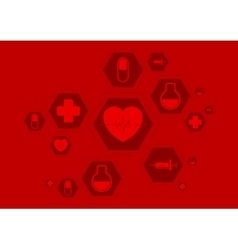 Bright red health background with medical vector image vector image