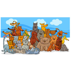 cartoon dog and cats characters group vector image