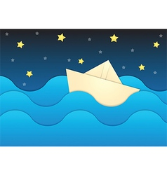 Paper boat on paper sea and night sky background vector image