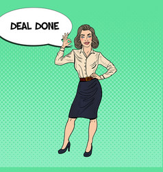 pop art happy business woman gesturing ok vector image vector image