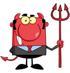 Smiling Devil Boss With A Trident vector image vector image