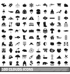 100 clouds icons set simple style vector