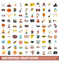 100 festival craft icons set flat style vector image