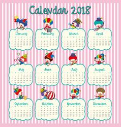 2018 calendar design with happy clowns vector