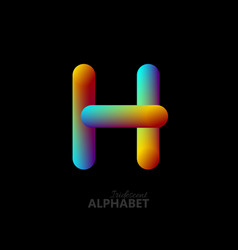 3d iridescent gradient letter h vector image vector image