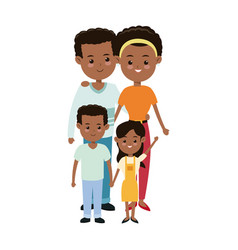 Afro american couple parents with childrens family vector