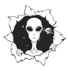 alien looks out from hole space vector image