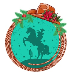 American cowboy Christmas background vector