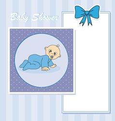 Baby boy arrival announcement card vector