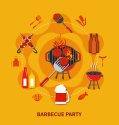 Barbecue party flat vector