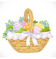 basket with easter eggs and blue flowers isolated vector image