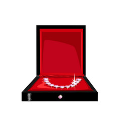 beautiful necklace in a gift box vector image