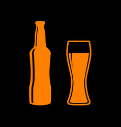 beer bottle sign orange icon on black background vector image