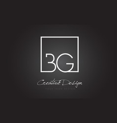 Bg square frame letter logo design with black and vector