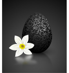 Black color mat realistic egg with metallic floral vector