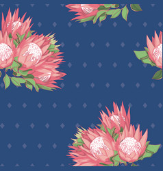 Blue and pink proteas australian natives seamless vector