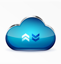 blue modern 3d glass cloud icon vector image