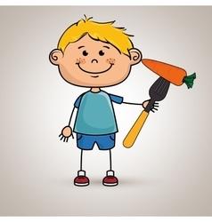 boy vegetables fork carrot vector image