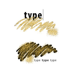 Brush strokes with golden sparkles vector
