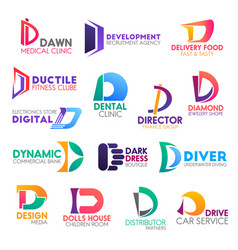 business icons letter d corporate identity vector image