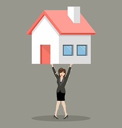 Business woman carry a heavy home vector