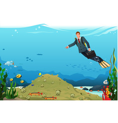 businessman swimming searching for money vector image