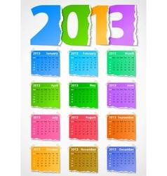 Calendar 2013 colorful torn paper vector