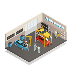 Car maintenance service isometric interior vector