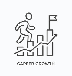 Career growth flat line icon outline vector