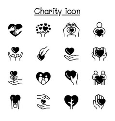 Charity donation icon set graphic design vector