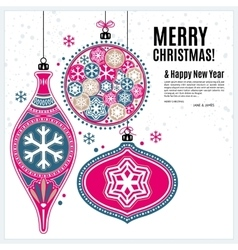 Christmas card with ornaments balls and snowflakes vector
