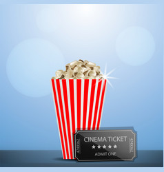 cinema ticket popcorn concept background vector image