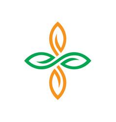 circle leaf ornament logo vector image
