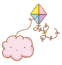 cloud smiling with kite vector image