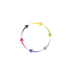 colorful circle arrows icon recycle logo symbol vector image