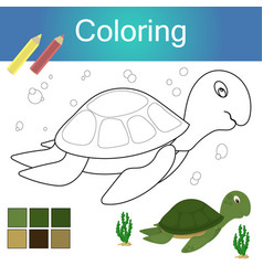 coloring book with animal outline artwork page vector image