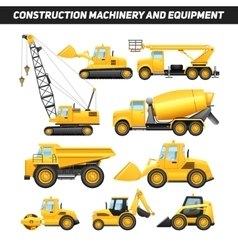 Construction Equipment Machinery Flat Icons Set vector