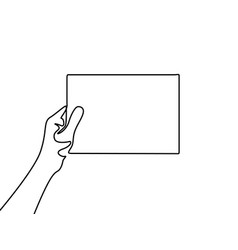 Continuous line hand holding a blank sheet vector